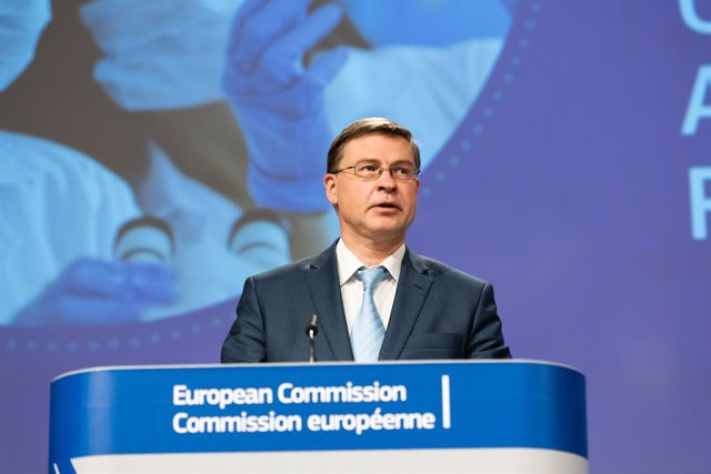 HANDOUT - 24 March 2021, Belgium, Brussels: Executive Vice President of the European Commission for An Economy that Works for People Valdis Dombrovskis speaks during a press conference on the Export transparency and authorisation mechanism at the European
