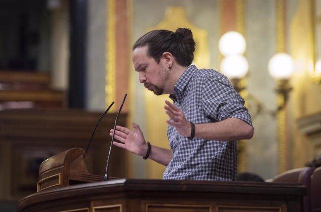 El vicepresidente segundo del Gobierno, Pablo Iglesias, interviene en una sesión plenaria en el Congreso de los Diputados, Madrid, (España), a 24 de marzo de 2021.