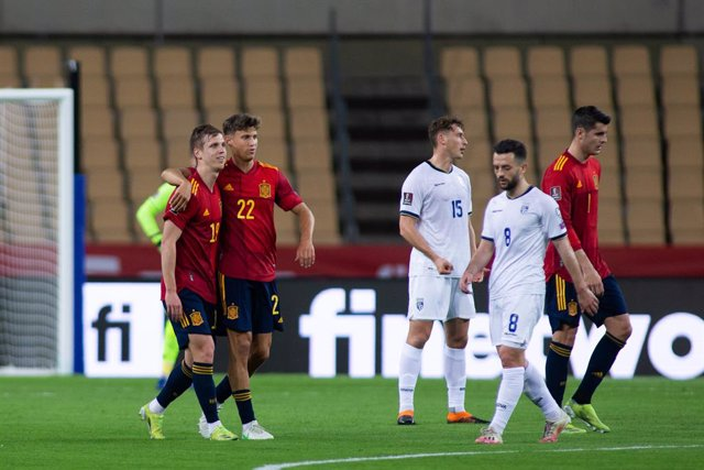 Celebrate score of Dani Olmo of Spain during the FIFA World Cup 2022 Qatar qualifying match between Spain and Kosovo at Estadio La Cartuja on March 31, 2021 in Sevilla, Spain
