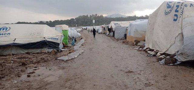 Archivo - Campo para personas refugiadas en Lesbos.