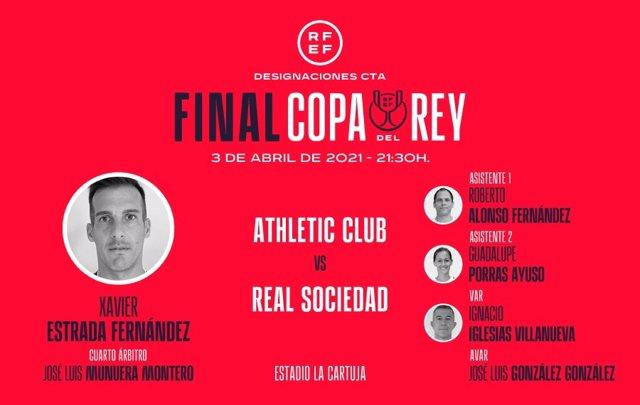 Cuadro arbitral para la final de la Copa del Rey 2019/20 que disputarán Athletic Club y Real Sociedad el 3 de abril de 2021 en Sevilla