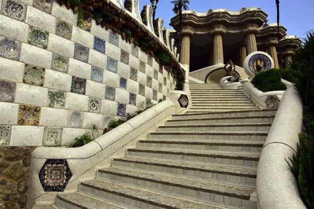 Archivo - Arxiu - Vista de les escales del Park Güell.