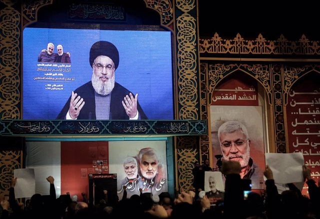 Archivo - El líder de Hezbolá, Hasán Nasralá, durante un discurso televisado