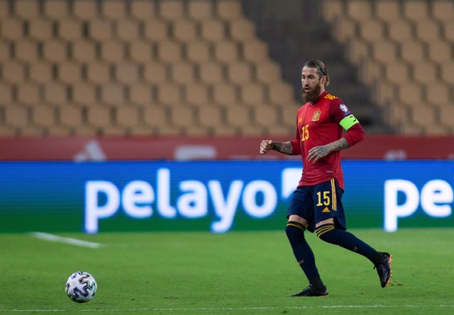 Sergio Ramos of Spain during the FIFA World Cup 2022 Qatar qualifying match between Spain and Kosovo at Estadio La Cartuja on March 31, 2021 in Sevilla, Spain
