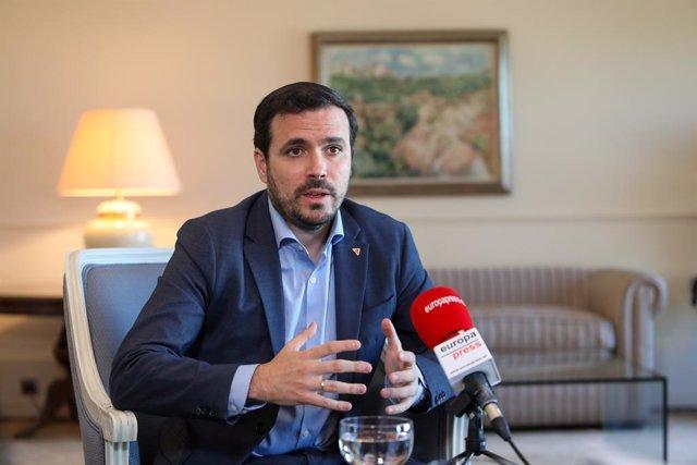 El ministro de Consumo, Alberto Garzón, durante una entrevista con Europa Press, en Madrid, (España), a 24 de marzo de 2021.