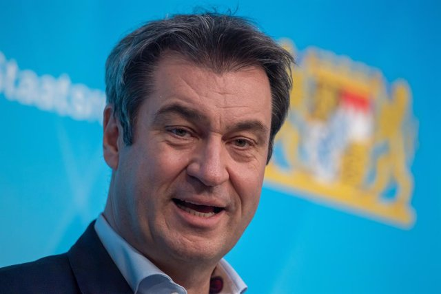 30 March 2021, Bavaria, Munich: Markus Soeder, Minister President of Bavaria, speaks at a press conference after the Bavarian Corona Vaccination Summit. Photo: Peter Kneffel/dpa