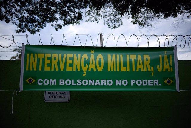 Concentración de los partidarios del presidente de Brasil, Jair Bolsonaro, contra el gobernador de Sao Paulo, Joao Doria, y el Tribunal Supremo.