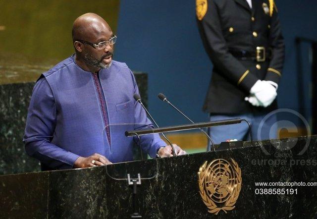 Archivo - El presidente de Liberia, George Weah