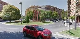 Rotonda donde se ha producido el atropello en Logroño