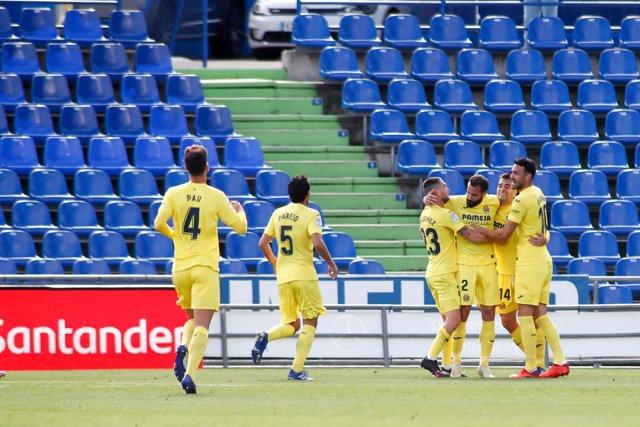 Manuel Trigueros of Villarreal celebrates a goal during the spanish league, La Liga Santander, football match played between Getafe CF and Villarreal CF at Coliseum Alfonso Perez stadium on November 8, 2020, in Getafe, Madrid, Spain.