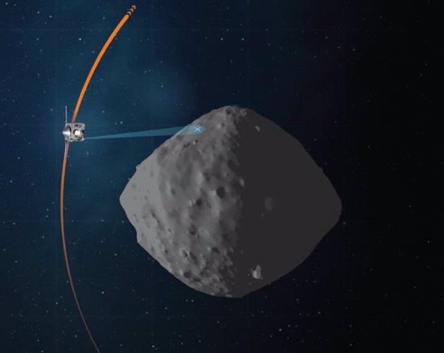 Nave OSIRIS-REx orbitando el asteroide Bennu