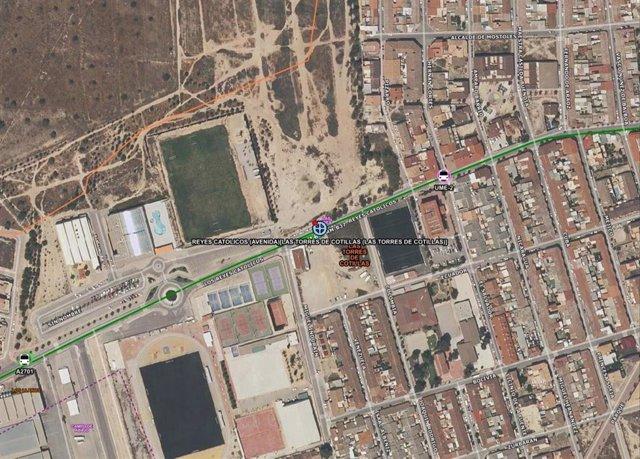 Imagen por satélite del lugar del atropello