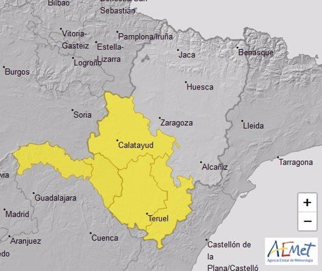Aviso amarillo por tormentas en la Ibérica zaragozana y varias comarcas  de Teruel para la tarde de este Viernes Santo