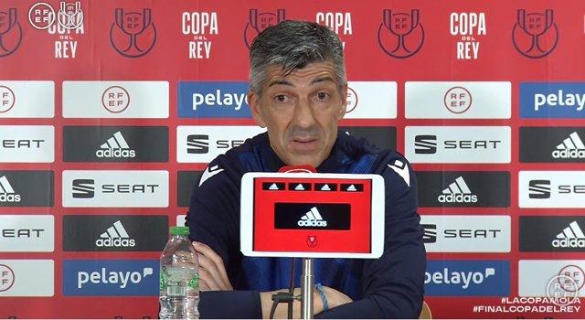Imanol Alguacil en rueda de prensa antes de la final de la Copa del Rey 2019/20