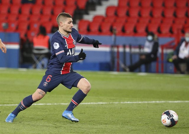 Marco Verratti of PSG during the French championship Ligue 1 football match between Paris Saint-Germain and FC Nantes on March 14, 2021 at Parc des Princes stadium in Paris, France - Photo Jean Catuffe / DPPI