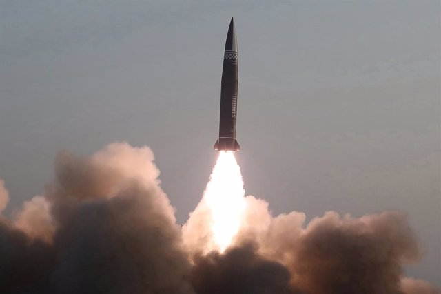 25 March 2021, North Korea, Hamju: A new type of a tactical guided missile is launched from the North Korean town of Hamju. South Korea's military said the previous day that the North fired what appeared to be two short-range ballistic missiles into the E
