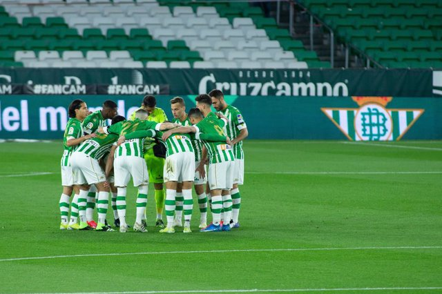 Formation of Real Betis during LaLiga, football match played between Real Betis Balompie and Levante Union Deportiva at Benito Villamarin Stadium on March 19, 2021 in Sevilla, Spain.