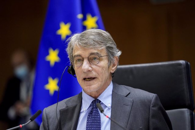 Archivo - HANDOUT - 20 January 2021, Belgium, Brussels: President of the European Parliament David Sassoli speaks during a plenary session of the European Parliament which focused on the inauguration of the new US President Joe Biden and the presentation
