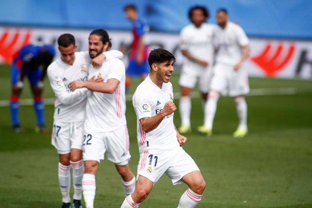 Marco Asensio of Real Madrid celebrates a disallowed goal during the spanish league, La Liga, football match played between Real Madrid and SD Eibar at Alfredo Di Stefano stadium on April 03, 2021 in Valdebebas, Madrid, Spain.