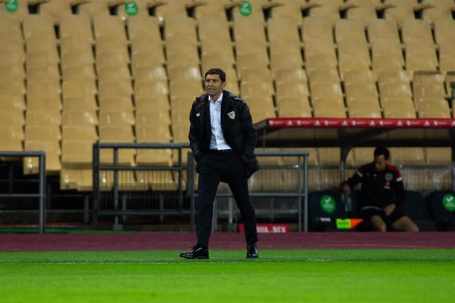 Marcelino Garcia Toral, head coach of Bilbao, during Copa Del Rey Final match between Real Sociedad and Athletic Club at Estadio de La Cartuja on April 03, 2021 in Seville, Spain.