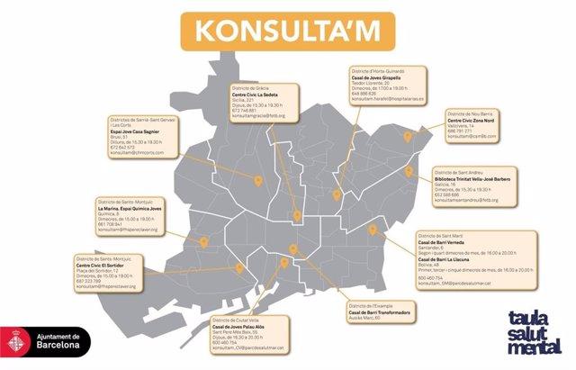 Mapa de las oficinas de la red de atención psicológica para jóvenes Konsulta'm.