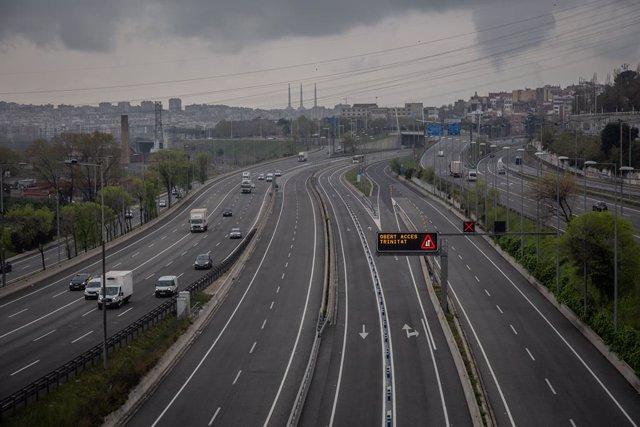 Archivo - Arxiu - Arxivo- Carretera en l'entrada a Barcelona per l'Autopista del Vallés