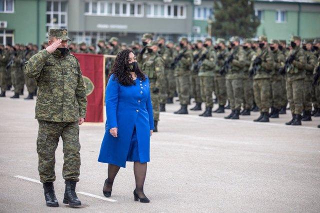 Archivo - Vjosa Osmani, presidenta de Kosovo