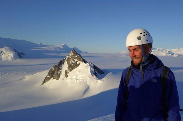 Sebastian Rosier en el glaciar Pine Island en 2015