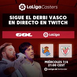 LaLiga y GOL ofrecerán el derbi vasco en Twitch con los comentarios de Ibai Llanos.