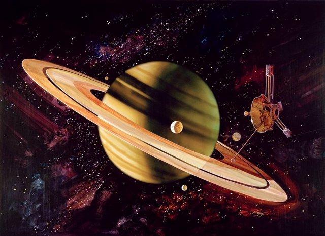 Ilustración artística de Pioneer 11 en aproximación a Saturno