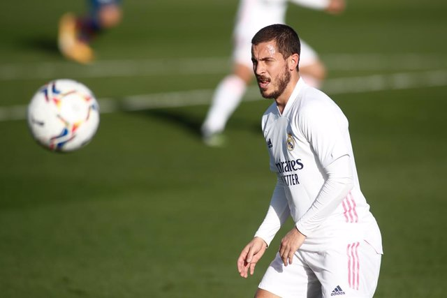 Archivo - Eden Hazard of Real Madrid in action during the spanish league, La Liga Santander, football match played between Real Madrid and Levante UD at Ciudad Deportiva Real Madrid on january 30, 2021, in Valdebebas, Madrid, Spain.