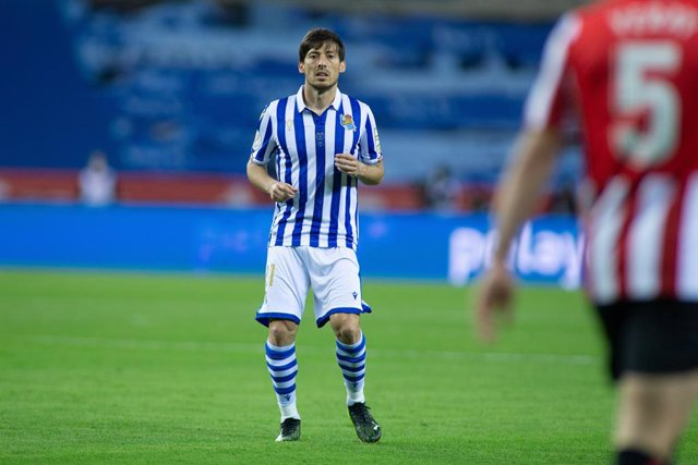 David Silva of Real Sociedad during Copa Del Rey Final match between Real Sociedad and Athletic Club at Estadio de La Cartuja on April 03, 2021 in Seville, Spain.