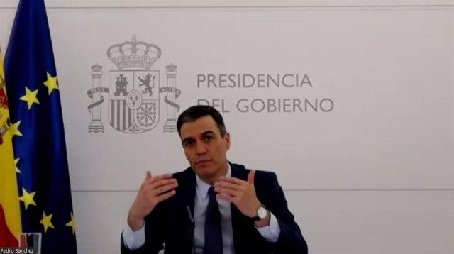 Archivo - El presidente del Gobierno, Pedro Sánchez, en una conferencia telemática organizada por London School of Economics.