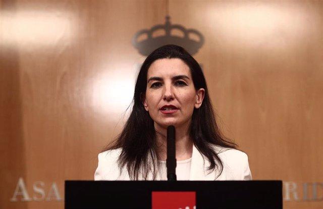 La portavoz de Vox, Rocío Monasterio, comparece en rueda de prensa después de una reunión de la Junta de Portavoces de la Asamblea de Madrid.