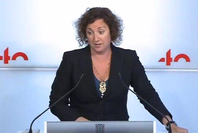 Alícia Romero (PSC) en una roda de premsa al Parlament.