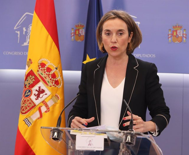 La portavoz del PP en el Congreso de los Diputados, Cuca Gamarra, interviene en una rueda de prensa posterior a una Junta de Portavoces en el Congreso de los Diputados, en Madrid (España), a 9 de marzo de 2021.