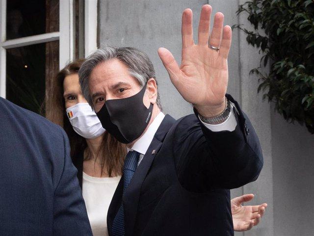 Antony Blinken durante una visita a Bruselas
