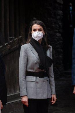 La Reina Letizia durante su visita al museo Casa d'Areny Plandolit y el pueblo de Ordino, en Andorra la Vella (Andorra), a 26 de marzo de 2021. Con esta última parada los Reyes finalizan su visita a Andorra tras retomar ayer su agenda internacional despué