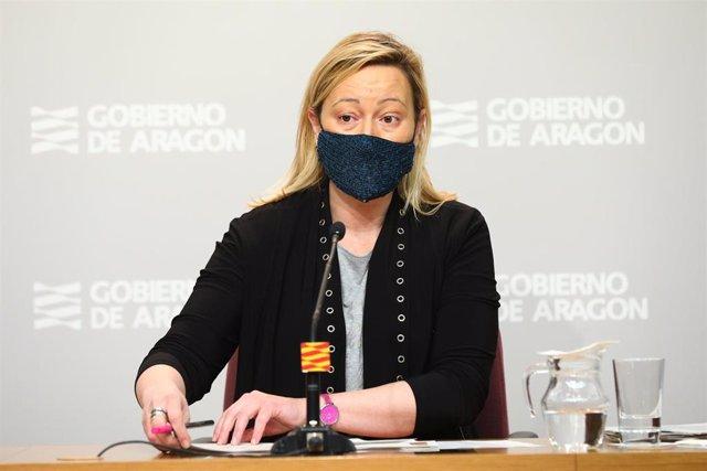 La consejera de Economía, Marta Gastón, en la rueda de prensa de este martes sobre el paro.