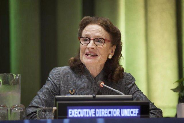 Archivo - La directora ejecutiva del Fondo de Naciones Unidas para la Infancia (UNICEF), Henrietta Fore