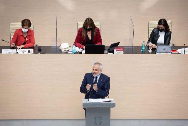 El líder de Cs al Parlament, Carlos Carrizosa, en la segona sessió del debat d'investidura a la presidència de la Generalitat. Catalunya (Espanya), 30 de març del 2021.