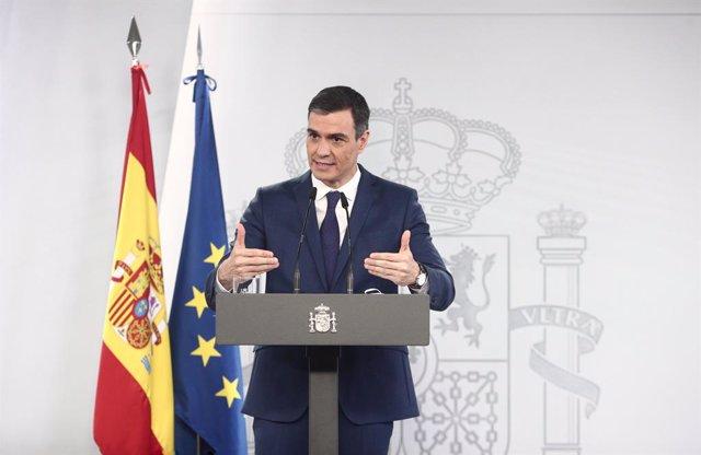 El president del Govern espanyol, Pedro Sánchez, en una roda de premsa a La Moncloa després del Consell de Ministres (Arxiu)