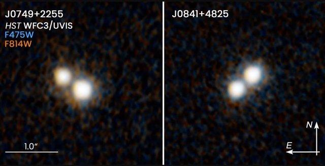 Estas dos imágenes del telescopio espacial Hubble revelan dos pares de cuásares que existieron hace 10 mil millones de años y residen en el corazón de las galaxias fusionadas.