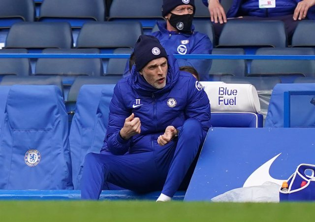 03 April 2021, United Kingdom, London: Chelsea's manager Thomas Tuchel gestures on the touchline during the English Premier League soccer match between Chelsea and West Bromwich Albion at Stamford Bridge. Photo: John Walton/PA Wire/dpa