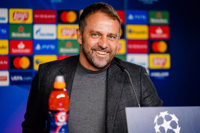 16 March 2021, Bavaria, Munich: Bayern Munich coach Hansi Flick reacts during the team's press conference ahead of Wednesday's UEFA Champions League round of 16 second leg soccer match against S.S. Lazio. Photo: Marco Donato/FC Bayern München AG/FCB/dpa