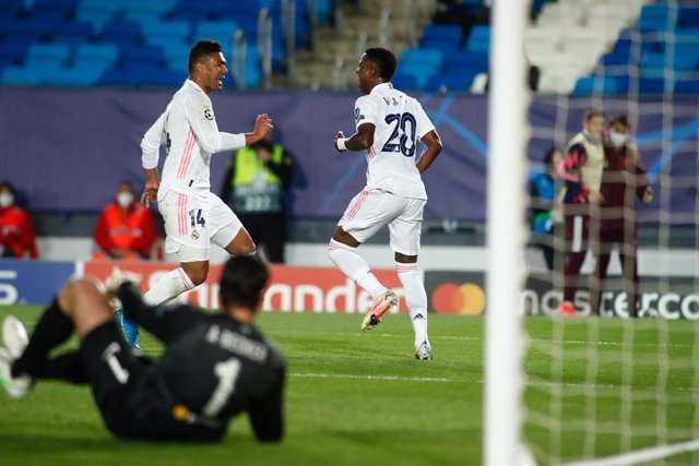 Vinicius Junior of Real Madrid celebrates a goal during the UEFA Champions League, Quarter finals round 1, football match played between Real Madrid and Liverpool FC at Alfredo Di Stefano stadium on April 06, 2021 in Valdebebas, Madrid, Spain.