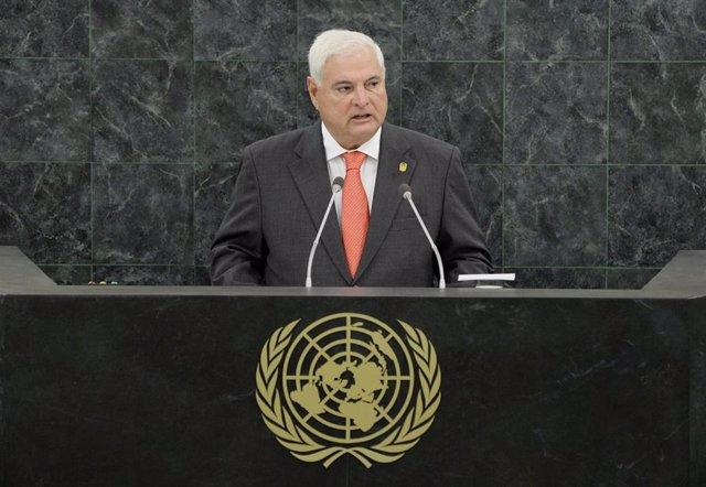 Archivo - Ricardo Martinelli habla ante la ONU en 2013