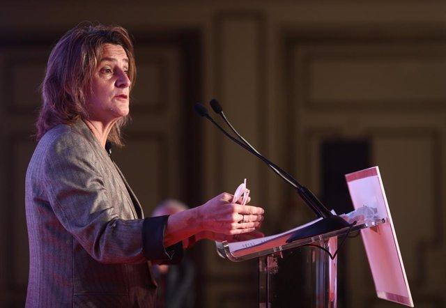 La vicepresidenta cuarta del Gobierno y ministra para la Transición Ecológica y el Reto Demográfico, Teresa Ribera, interviene en el desayuno 'El Ágora' organizado por 'El Economista', a 7 de abril de 2021, en el Hotel Westin Palace, Madrid, (España), a 7