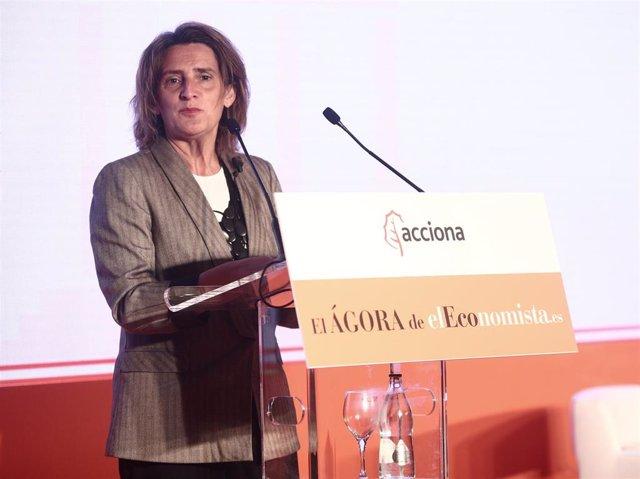 La vicepresidenta cuarta del Gobierno y ministra para la Transición Ecológica y el Reto Demográfico, Teresa Ribera, interviene en el desayuno 'El Ágora' organizado por 'El Economista'
