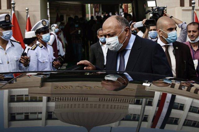 Archivo - El ministro de Exteriores de Egipto, Samé Shukri